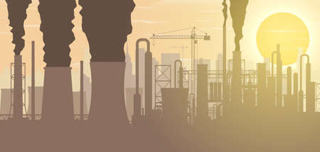 Panoramic industrial silhouette landscape. Stock Vector - 119741580