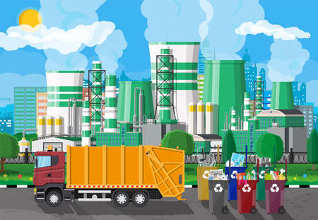 Urban cityscape with garbage car and factory Illustration