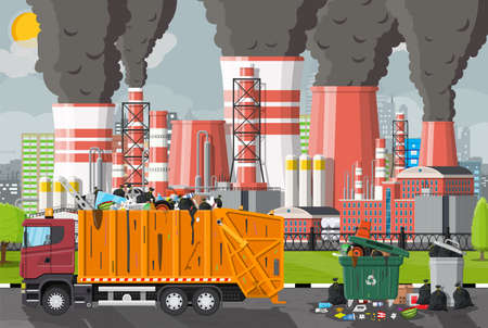 Plant smoking pipes. Smog in city. Trash emission from factory. Grey sky polluted trees grass. Garbage truck bin full of trash. Environmental pollution ecology nature. Vector illustration flat style