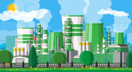 Factory building. Industrial factory, power plant. Pipes, buildings, warehouse, storage tank. Green eco plant. Urban cityscape skyline. Trees clouds and sun. Vector illustration in flat style Illustration