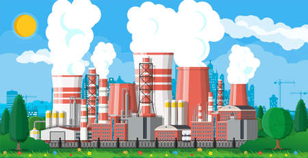 Factory building. Industrial factory, power plant. Pipes, buildings, warehouse, storage tank. Cityscape urban skyline with clouds, trees and sun. Vector illustration in flat style Illustration