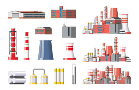 Factory icon set. Industrial factory, power plant. Pipes, buildings, warehouse, storage tank. Vector illustration in flat style
