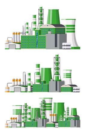 Werks-Icon-Set. Industrielle Fabrik, Kraftwerk. Rohre, Gebäude, Lager, Lagertank. Vektorillustration im flachen Stil Vektorgrafik