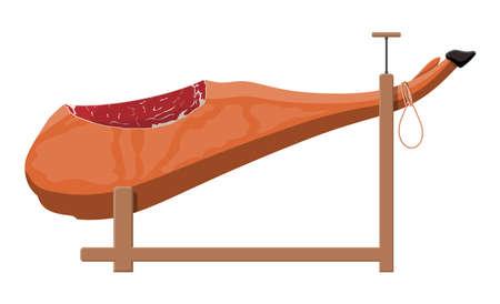 Jamon op de houten jamonera. Spaans varkensvlees gourmet. Spek ham product. Hele varkenspoot. Vectorillustratie in vlakke stijl
