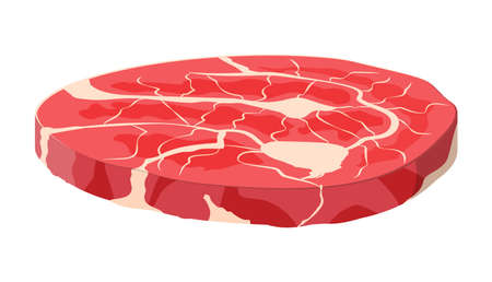 Beef tenderloin. Pork knuckle. Slice of steak, fresh meat. Uncooked pork chop. Vector illustration in flat style