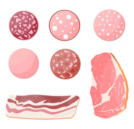 Meat sausage slice set. Cut sausage slices with fat. Boiled smoked meat bacon ham product. Delicatessen gastronomic product of beef pork chicken. Pepperoni salami. Vector illustration flat style Векторная Иллюстрация