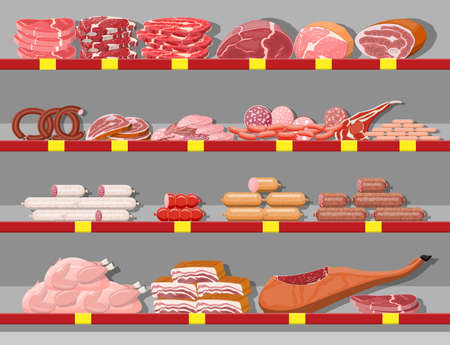 Meat products in supermarket shelf. Meat store butcher shop showcase counter. Sausage slices product. Delicatessen gastronomic product of beef pork chicken salami. Vector illustration flat style