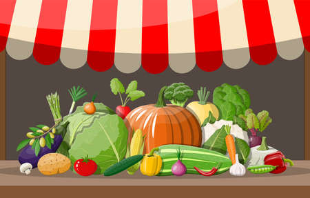 Wooden supermarket shelf with vegetables. Market stall with awning. Fresh organic food products. Cucumber tomato pumpkin garlic onion carrot corn pepper. Vector illustration in flat style Illustration
