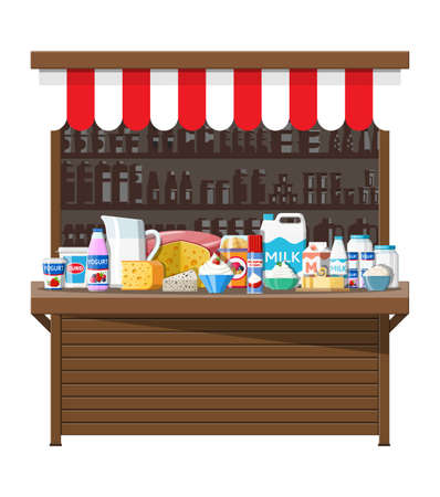Milk street market store stall. Farmer shop or showcase counter. Dairy products set collection of food. Milk cheese yogurt butter sour cream cottage cream farm products. Vector illustration flat style