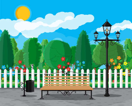 City park concept, wooden bench, street lamp, waste bin in square and trees. Sky with clouds and sun. Leisure time in summer city park. Vector illustration in flat style Vetores