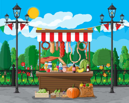 Traditional market wooden food stall full of food with flags, crates. City park, street lamp and trees. Sky with clouds and sun. Leisure time in summer city park. Vector illustration flat style