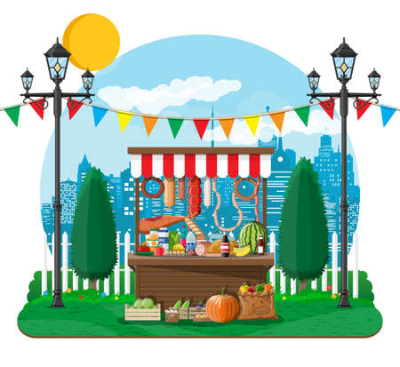 Traditional market wooden food stall full of food with crates. City park, cityscape and trees. Sky with clouds and sun. Leisure time in summer city park. Vector illustration flat style