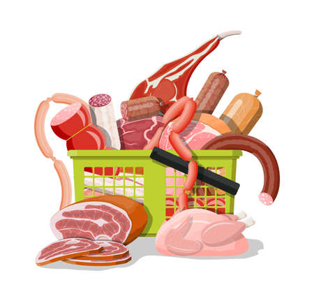 Shopping supermarket basket full of meat. Chop, sausages, bacon, ham. Marbled meat beef. Butcher shop, steakhouse, farm organic products. Grocery food. Pork fresh steak. Vector illustration flat style