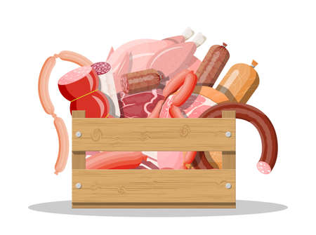 Wooden box full of meat. Chop, sausages, bacon, ham. Marbled meat beef. Butcher shop, steakhouse, farm organic products. Grocery food. Pork fresh steak. Vector illustration flat style