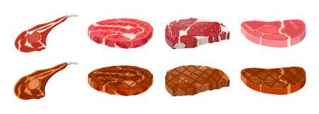 Collection of fried steaks. Beef tenderloin. Pork knuckle. Slice of steak, fresh meat. Uncooked pork chop. Vector illustration in flat style