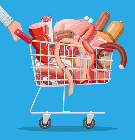 Shopping supermarket cart full of meat. Chop, sausages, bacon, ham. Marbled meat beef. Butcher shop, steakhouse, farm organic products. Grocery food. Pork fresh steak. Vector illustration flat style Vectores