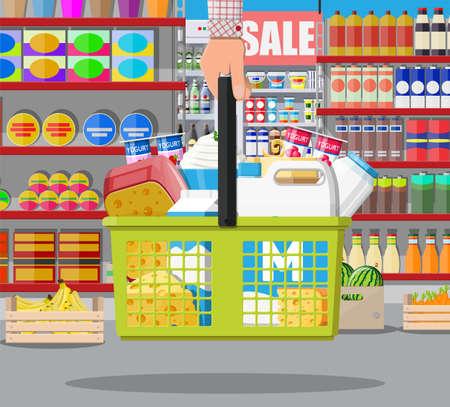 Contador de leche en el supermercado. Tienda de agricultores o tienda de abarrotes. Los productos lácteos establecen la recogida de alimentos. Leche, queso, yogur, mantequilla, crema agria, requesón, productos agrícolas. Estilo plano de ilustración vectorial Ilustración de vector