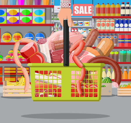 Meat products in supermarket basket. Meat store butcher shop showcase counter. Sausage slices product. Delicatessen gastronomic product of beef pork chicken salami. Vector illustration flat style 矢量图像