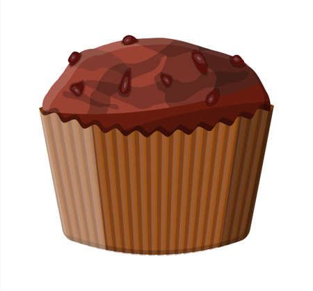 Chocolate muffin dessert. Chcolate cupcake. Bread baked cake food, pastry. Bakery shop. Vector illustration in flat style