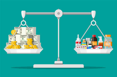 Balance scales with money and drugs Иллюстрация