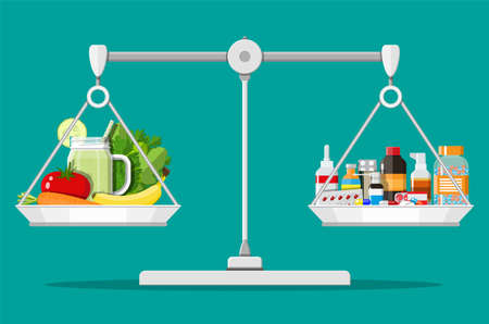 Balance scales with vegetables and drugs.