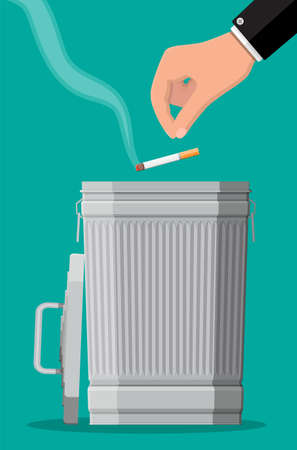 Hand putting cigarettes in trash bin Иллюстрация