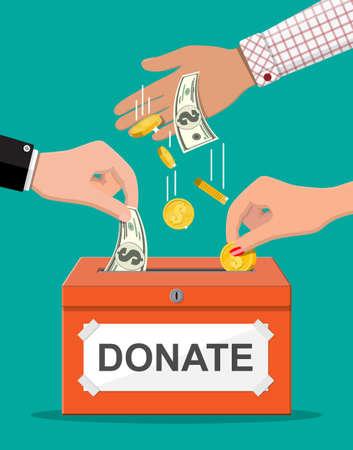 Donation box with money Иллюстрация