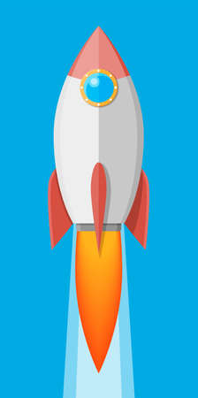 Cartoon rocket in the sky. Space ship take off.