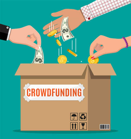 Cardboard box and hands with money. Funding project by raising monetary contributions from people. Crowdfunding concept, startup or new business model. Vector illustration in flat style