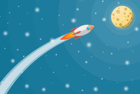 Cartoon rocket in the sky. Full moon in night sky