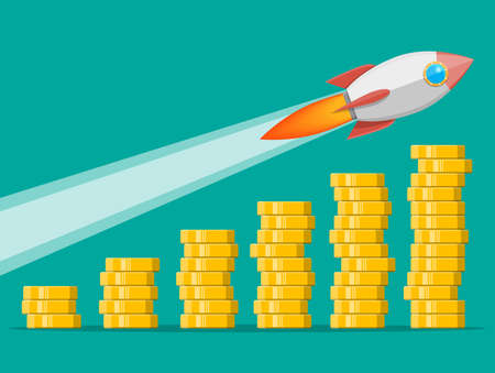 Stack of gold coins and space rocket ship. Golden coin with dollar sign. Growth, income, savings, investment. Symbol of wealth. Business success. Flat style vector illustration. Иллюстрация
