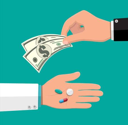Hand of pharmacist with pills, healthcare and shopping, pharmacy, drug store. Hand with money. Delivery. Medical drug, vitamin, antibiotic. Vector illustration in flat style