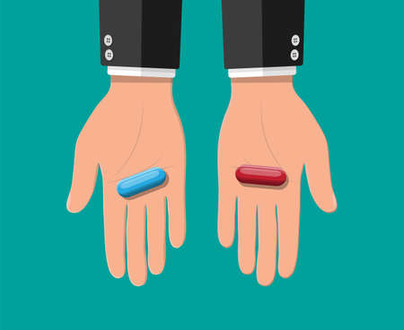 Hands with blue and red capsule pills. Choice or decision metaphor. Medical drugs in hand. Vector illustration in flat style