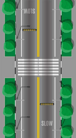 Road crossing with speed bump. Modern roads and transport. Top view. Highway junction, cross the street. Traffic regulations. Rules of the road. Vector illustration in flat style Stock fotó - 131335464