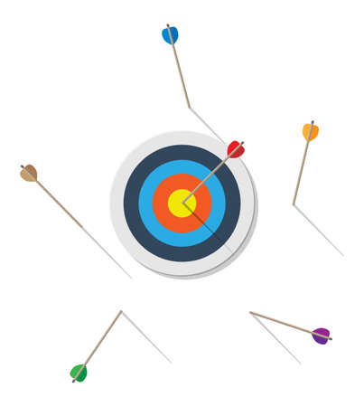 Target with arrow in center. Goal setting. Smart goal. Business target concept. Achievement and success. Vector illustration in flat style Illustration