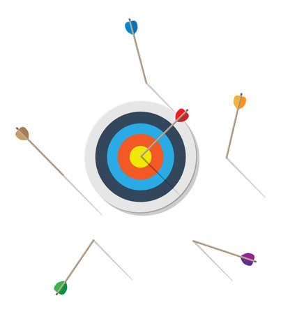 Ziel mit Pfeil in der Mitte. Ziele setzen. Intelligentes Ziel. Geschäftszielkonzept. Leistung und Erfolg. Vektorillustration im flachen Stil