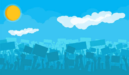 Silhouette of cheering or riot protesting crowd with flags and banners. Protest, revolution, demonstrators or conflict. Sun with clouds. Vector illustration
