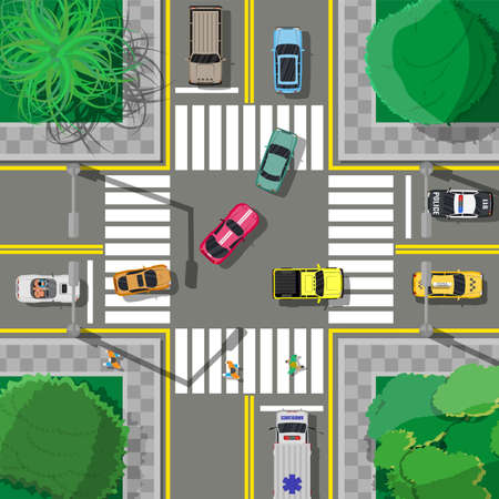 City asphalt crossroad with marking, walkways. Roundabout road junction. Traffic regulations. Rules of the road. Vector illustration in flat style