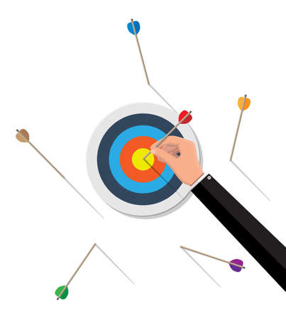 Target with arrow in center. Goal setting. Smart goal. Business target concept. Achievement and success. Vector illustration in flat style Иллюстрация