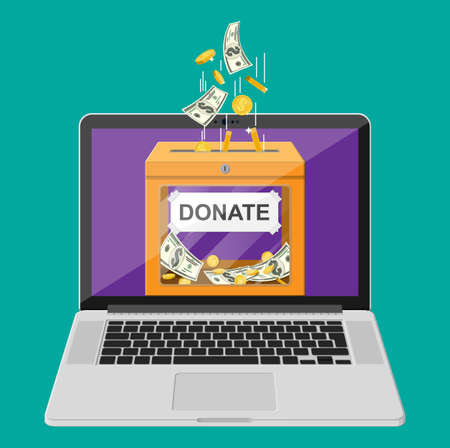 Donate online concept. Donation box with golden coins, dollar banknotes and laptop. Charity, donate, help and aid concept. Vector illustration in flat style Иллюстрация