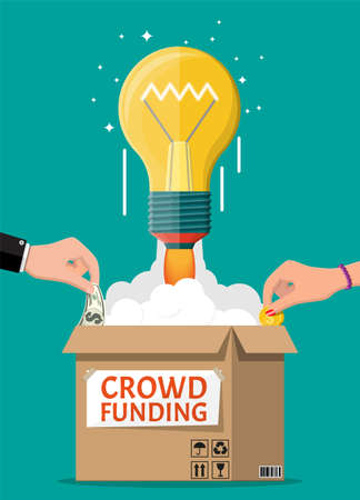 Cardboard box, bulb rocket and hands with money. Funding project by raising monetary contributions from people. Crowdfunding concept, startup or new business model. Vector illustration in flat style