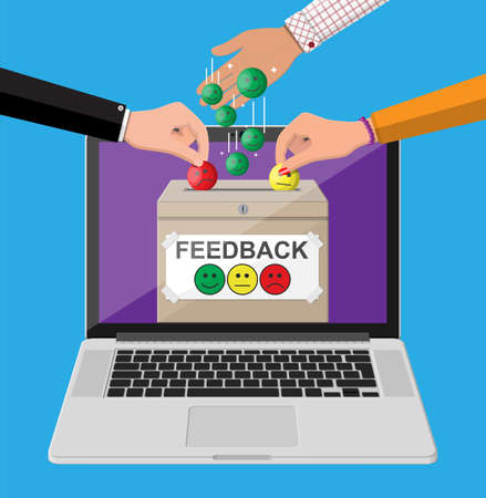 Rating box on laptop screen. Online reviews smiles faces. Testimonials, rating, feedback, survey, quality and review. Vector illustration in flat style Çizim