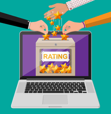 Rating box on laptop screen. Online reviews five stars. Testimonials, rating, feedback, survey, quality and review. Vector illustration in flat style