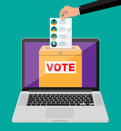 Ballot box, document with candidates on laptop screen. Hand with election bill. Vote paper with faces. Vector illustration in flat style