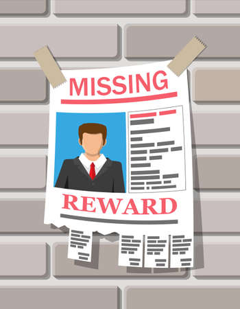 Wanted person paper poster. Missing announce. Information tear off papers. Search for lost person in big city. Vector illustration in flat style Ilustração