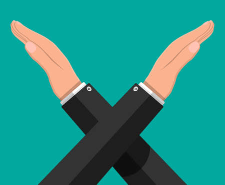 Man gestures cross hands. Say no gesture. Boycott, protest or rejection. Crossing arms. Negative or stop symbol. Prohibition and denial expression. Vector illustration in flat style Stock fotó - 131335482