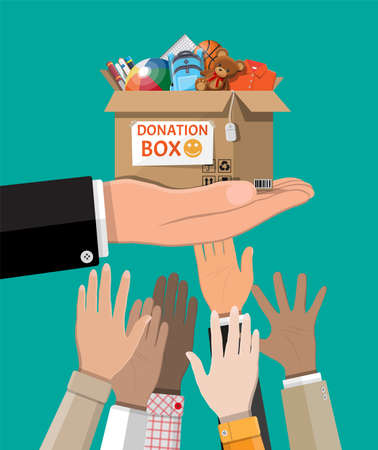 Cardboard donation box full of toys, books, clothes and devices. Help for children, support for poor kid. Donate container in hand. Social care, volunteering, charity concept. Flat vector illustration Ilustrace