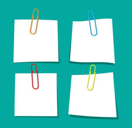 Empty paper sheet hanging with paper clip. Clerical clothespin. Education and work. Stationery and office supply. Memo or notes papers. White sheet papers for text. Vector illustration in flat style Ilustracja