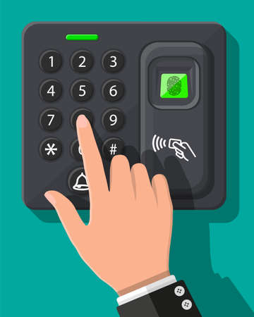 Password and fingerprint security device at office or home door. Access control machine or time the attendance. Proximity card reader. Vector illustration in flat style