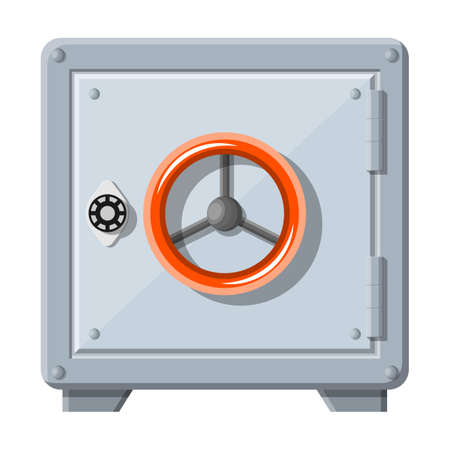 Metallic safe box with closed door for money. Bank vault security, deposit storage, cash safety safebox. Vector illustration in flat style